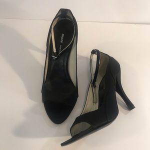 Women's DKNY Black Ankle Heels- Sz 8